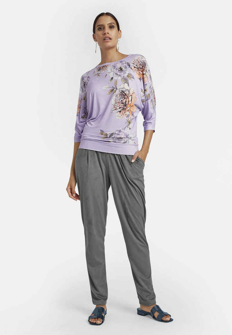 MADELEINE Rundhalsshirt »Lässiges Shirt mit Blütendruck und 3/4-Ärmel«
