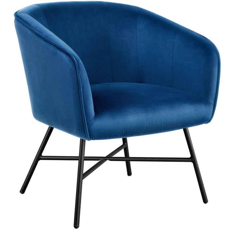 Yaheetech Esszimmersessel, Esszimmersessel, Bürostuhl Wohnzimmerstuhl Essensstuhl mit Samt Sessel Blau