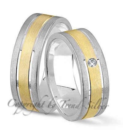 Trauringe123 Trauring mit Gravur »Trauringe aus 925er Silber ohne Stein + Gold plattiert, GRAVUR GRATIS. J-101«