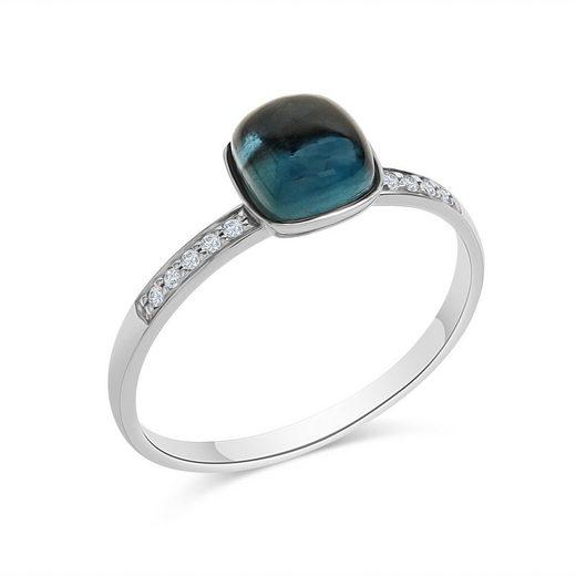 Diamonds by Ellen K. Fingerring »585/- Weißgold Blautopas Diamant 0,054ct.«, Ring