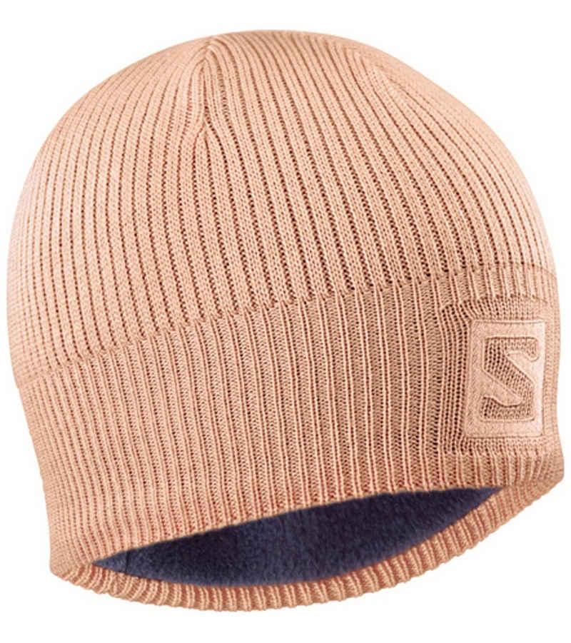 Salomon Strickmütze »Salomon Logo Beanie zeitlose Skater Strick-Mütze Wintermütze Rosé«