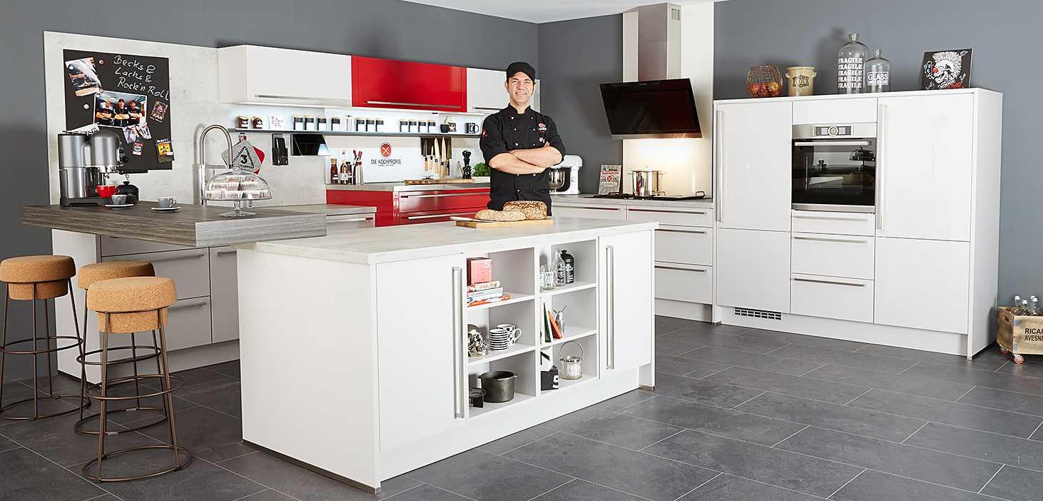 Kochprofis-Küche in Seidengrau und Rot Hochglanz