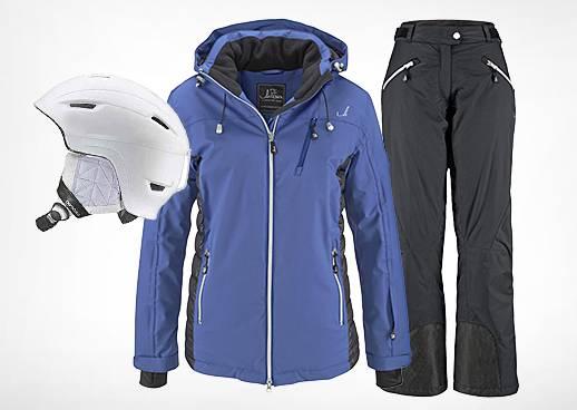 Skibekleidung und Ausrüstung