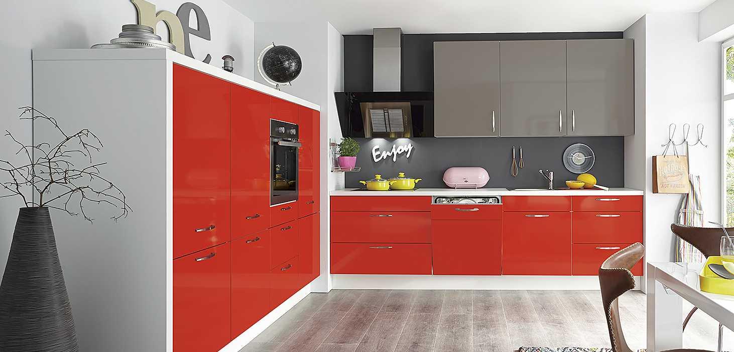 Eckküche Red Star in Rot und Magma Hochglanz