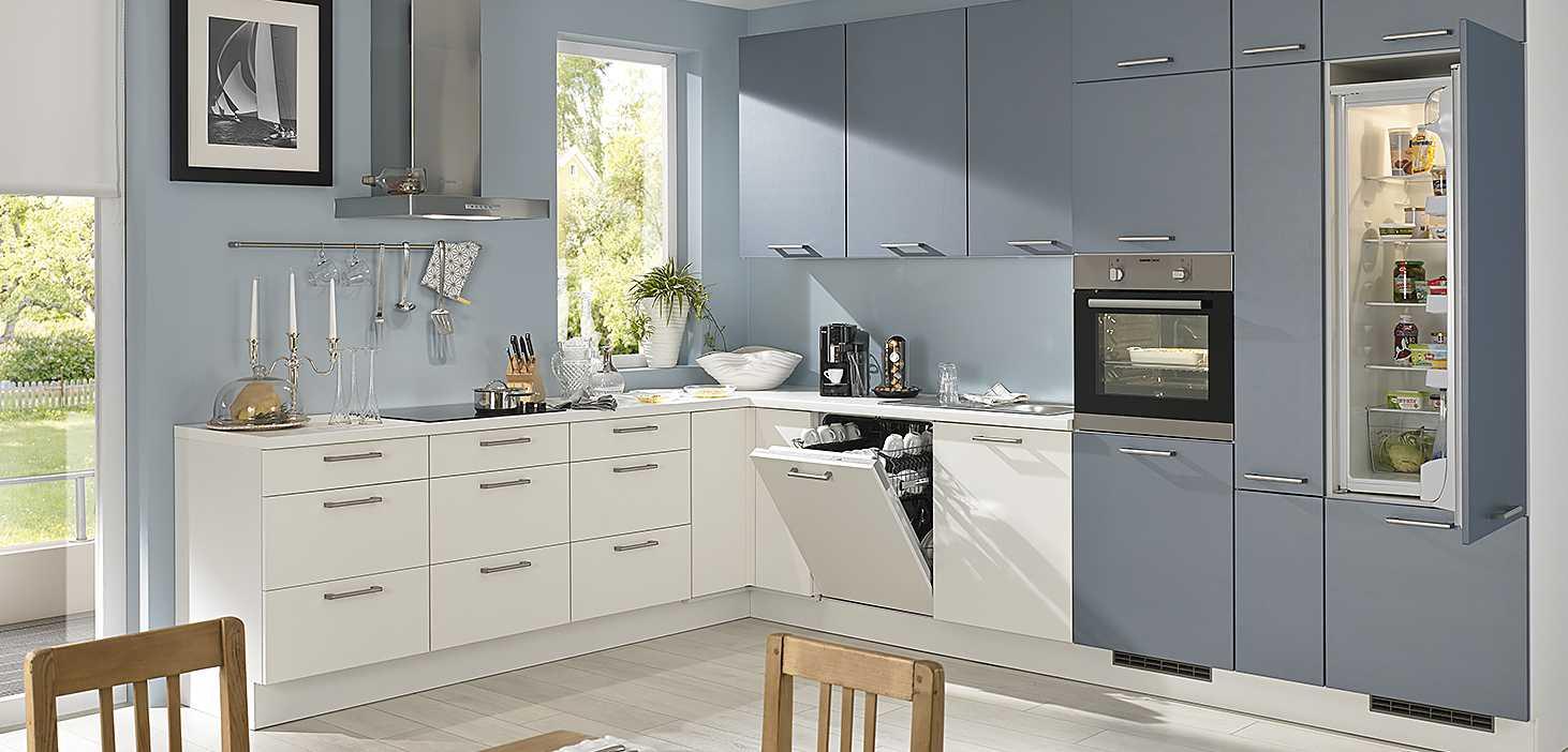 Eckküche Indigo in Weiß und Quarz Indigo