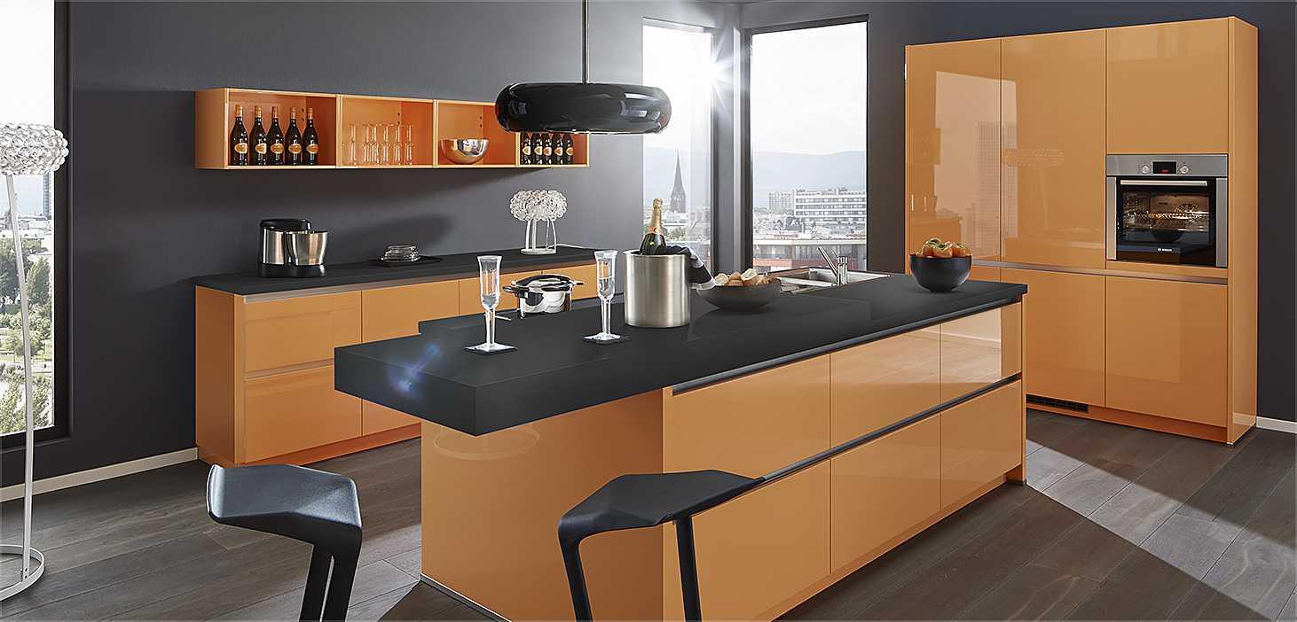 Designküche Veuve Orange in Mandarin Hochglanz