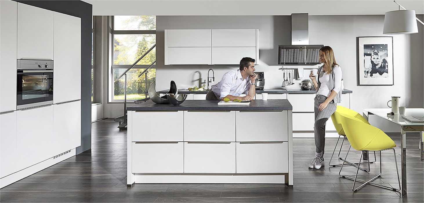 Familienküche White & Steel in Alpinweiß