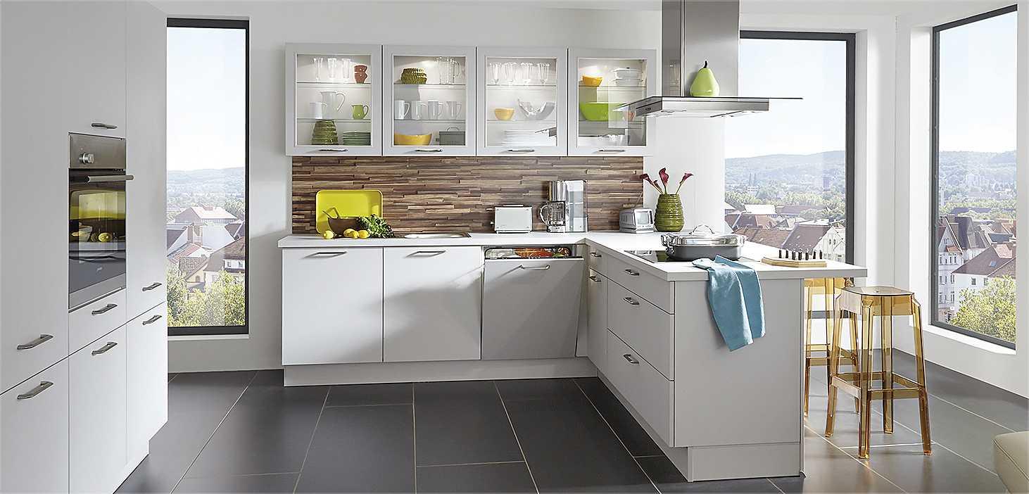 Wohnküche Living in Seidengrau
