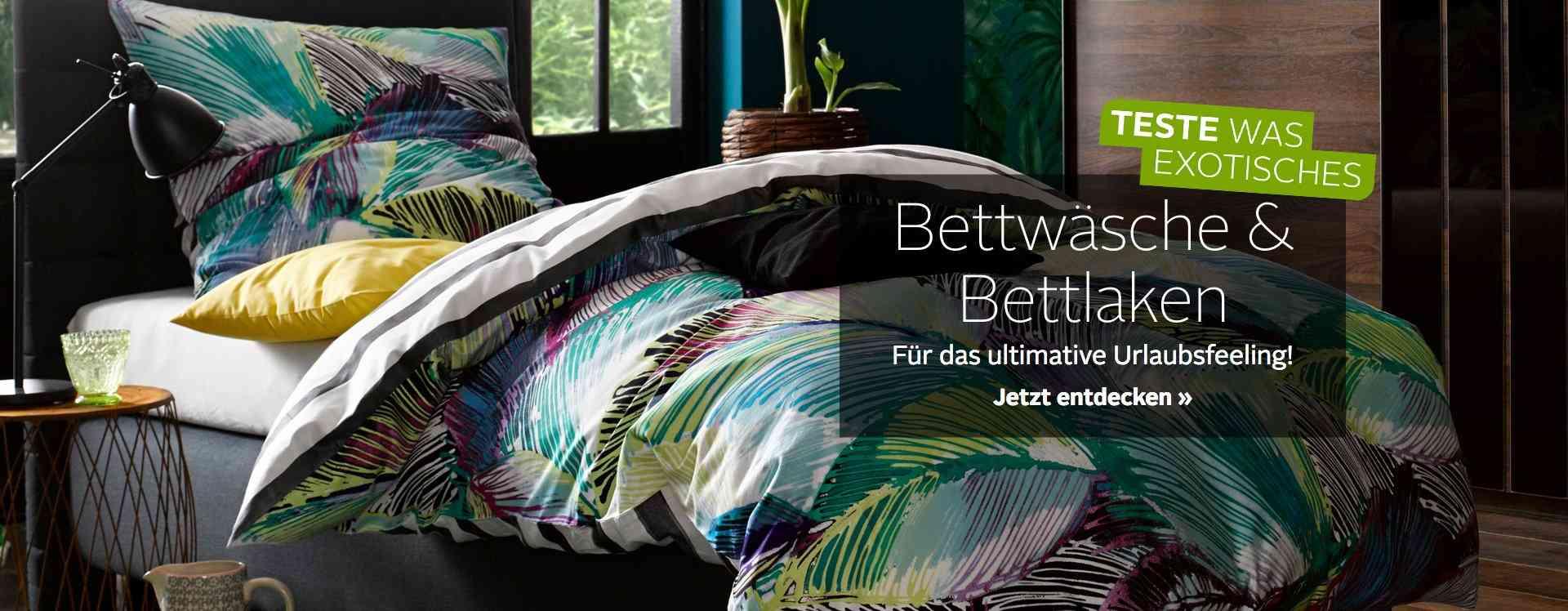 Hier finden Sie Bettwäsche & Laken in diversen Größen, Materialien und Designs, denn zu einem gelungen gestalteten Schlafzimmer gehört auch die farblich passende Bettwäsche.