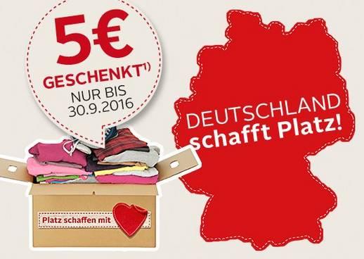 Deutschland schafft Platz, Kleiderspende, Gutschein, Platz schaffen mit Herz