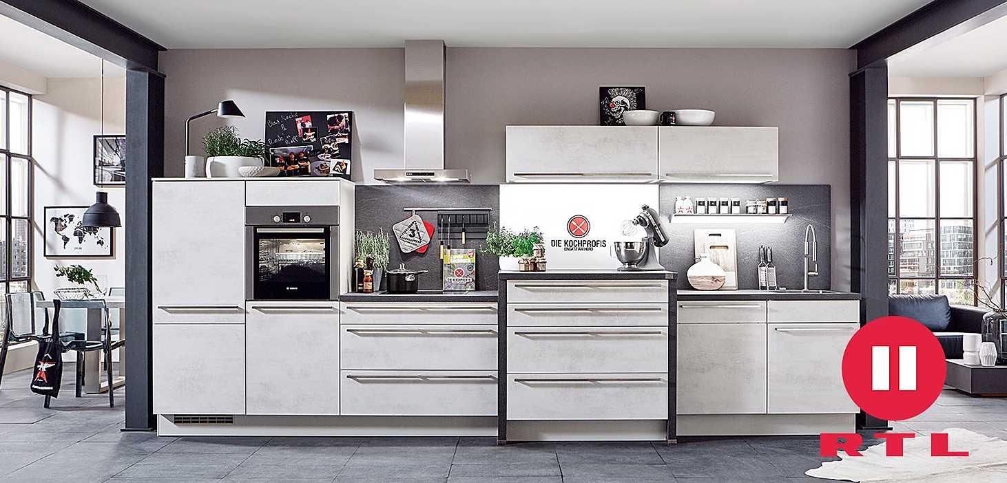 Kochprofis-Küchenzeile in Beton Dekor,