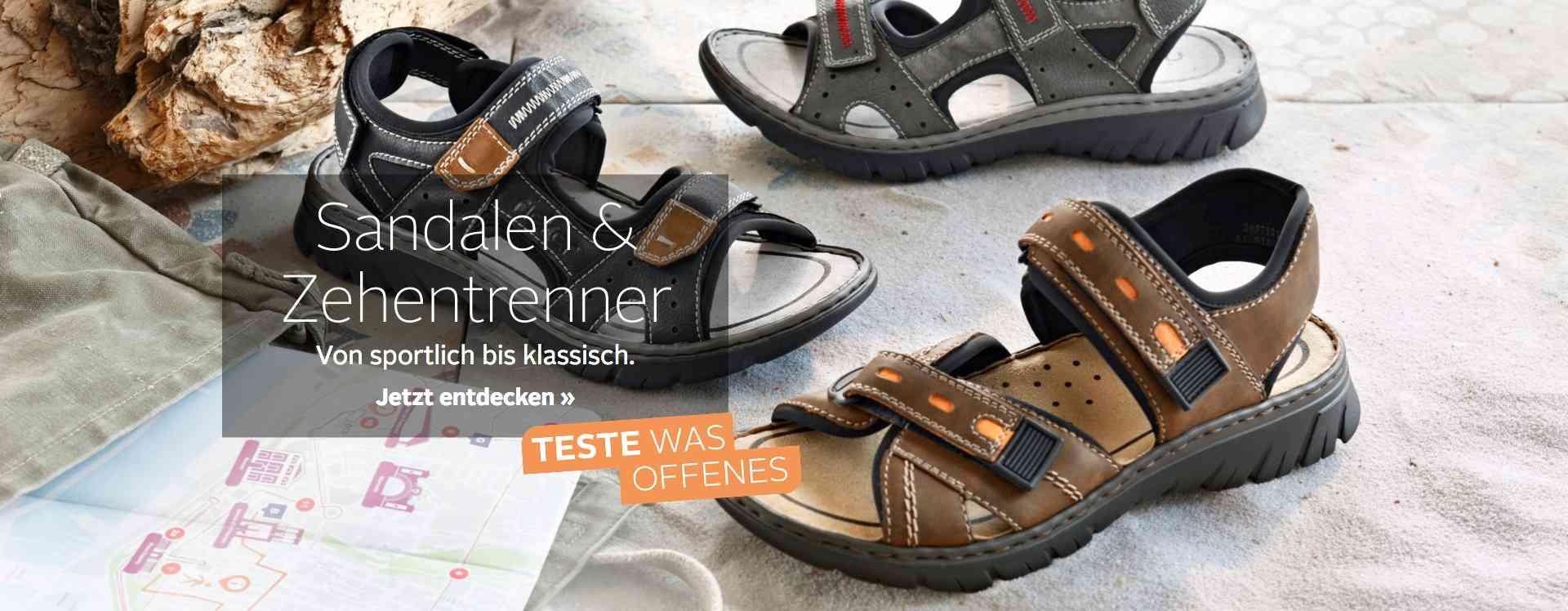 Mann darf auch mal Fuß zeigen: Hier finden Sie unsere Auswahl an Sandalen und Zehentrenner für Herren.