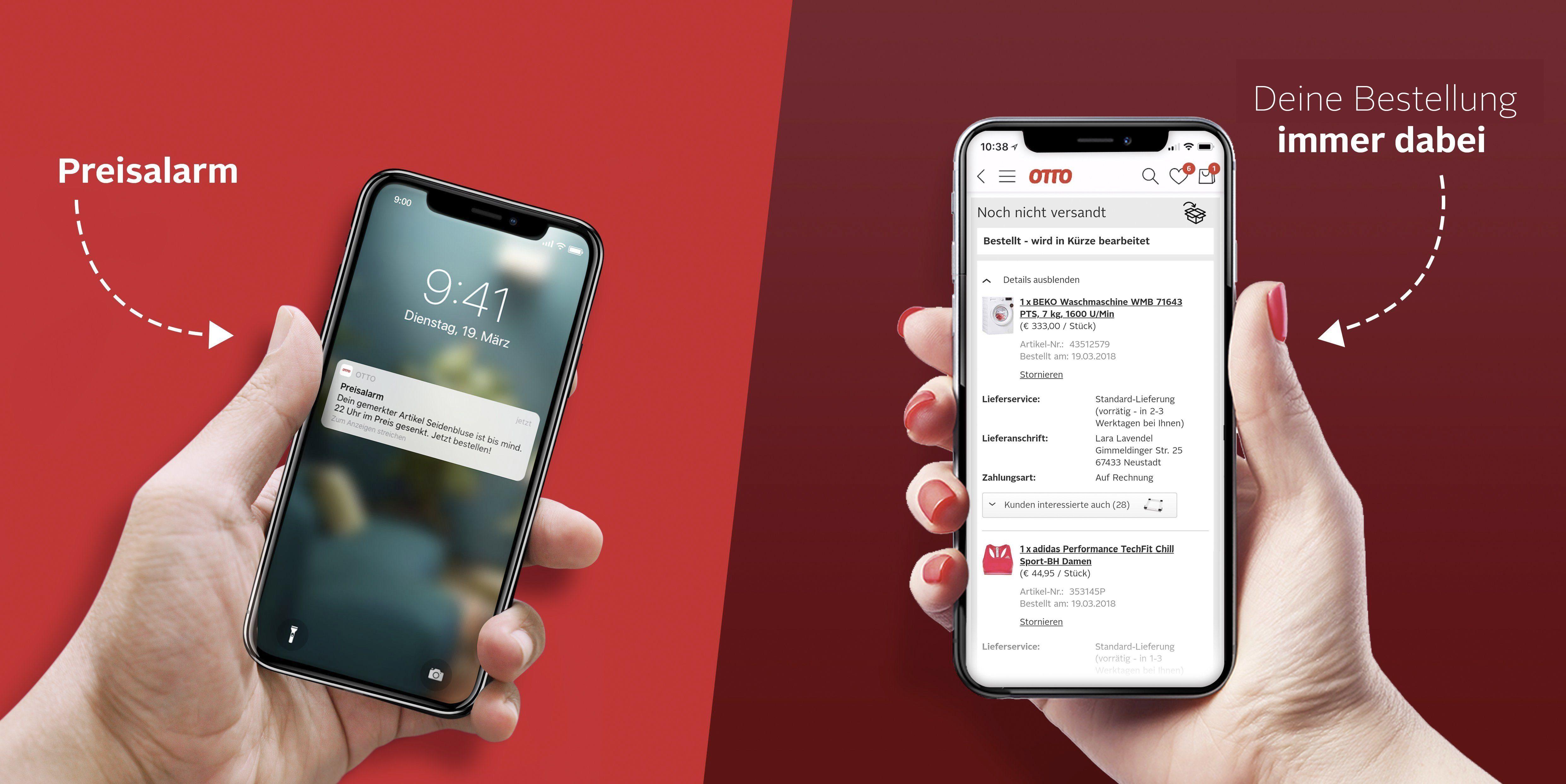 OTTO-App Preisalarm und Bestelluebersicht