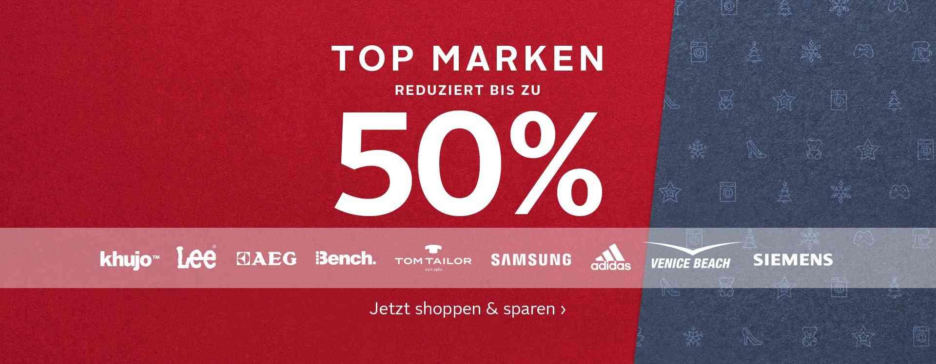 Top-Marken bis zu 50% reduziert