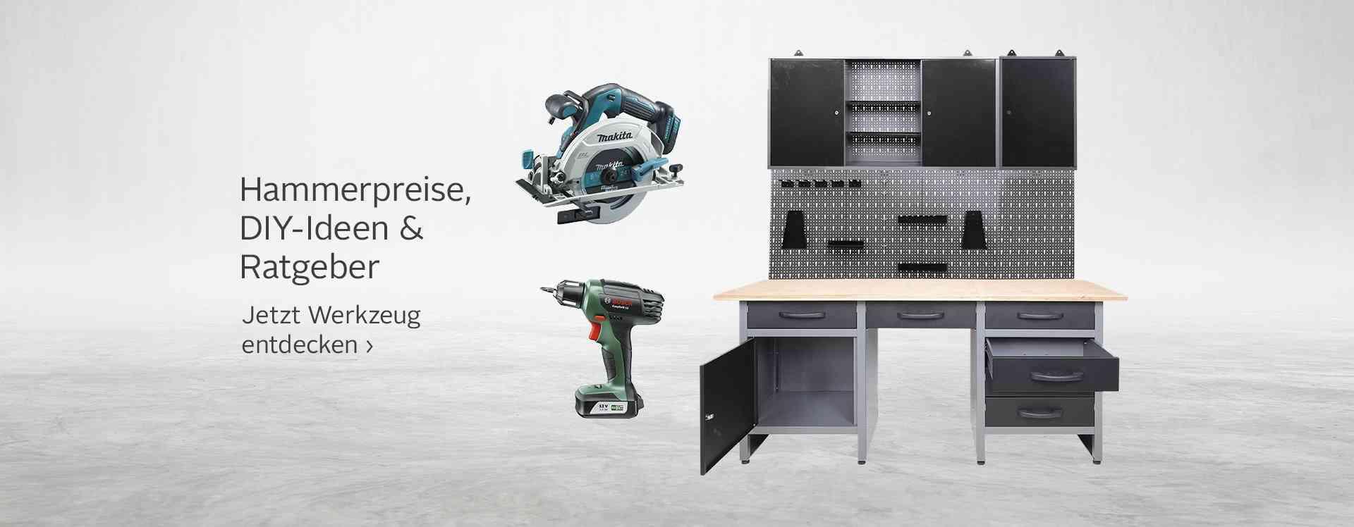 Werkzeug & Maschinen: von Akkuschrauber über Bohrhämmer bis hin zu Betonmischer - hier wird jeder fündig. Vergessen Sie nicht die praktische Werkstatteinrichtung - Stauraum für Ihre Lieblingsstücke!