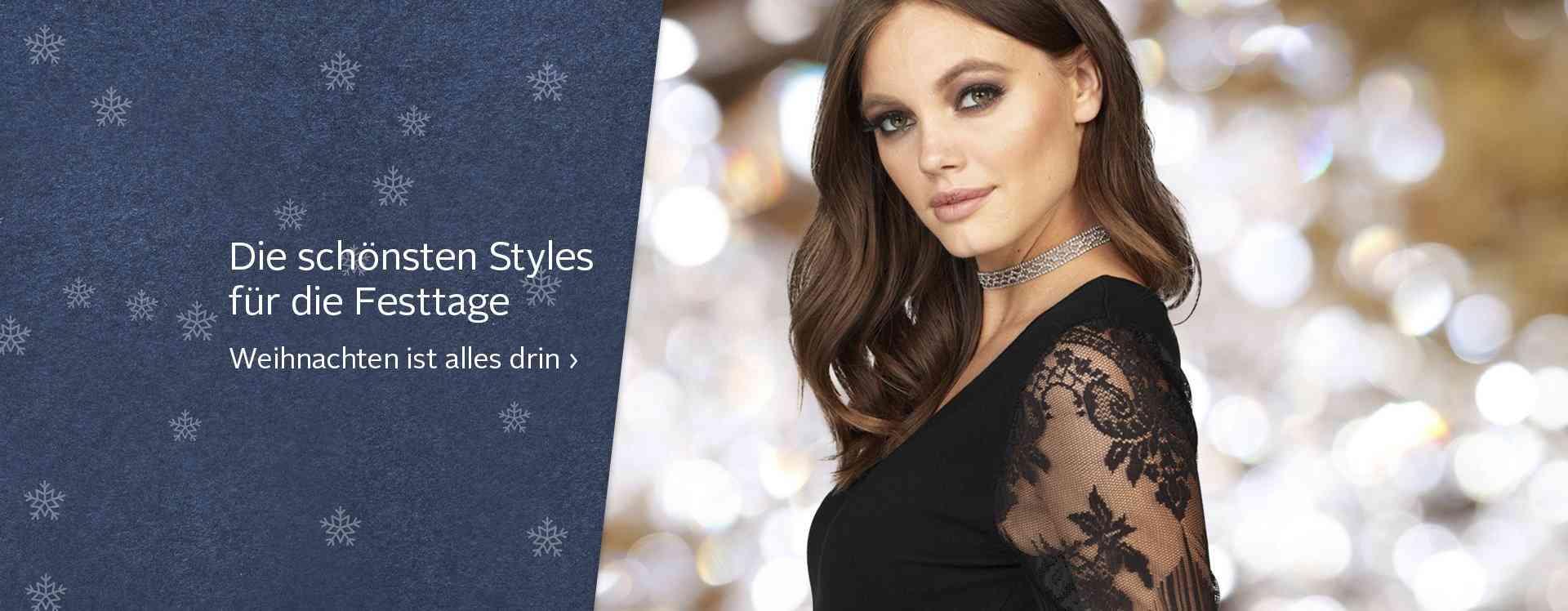Entdecken Sie jetzt elegante Damen-Festtagsmode. Hier finden Sie edle Kleidung, Schuhe und Accessoires für eine gelungene Feier...