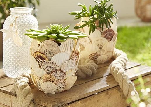DIY Blumentopf Muscheln