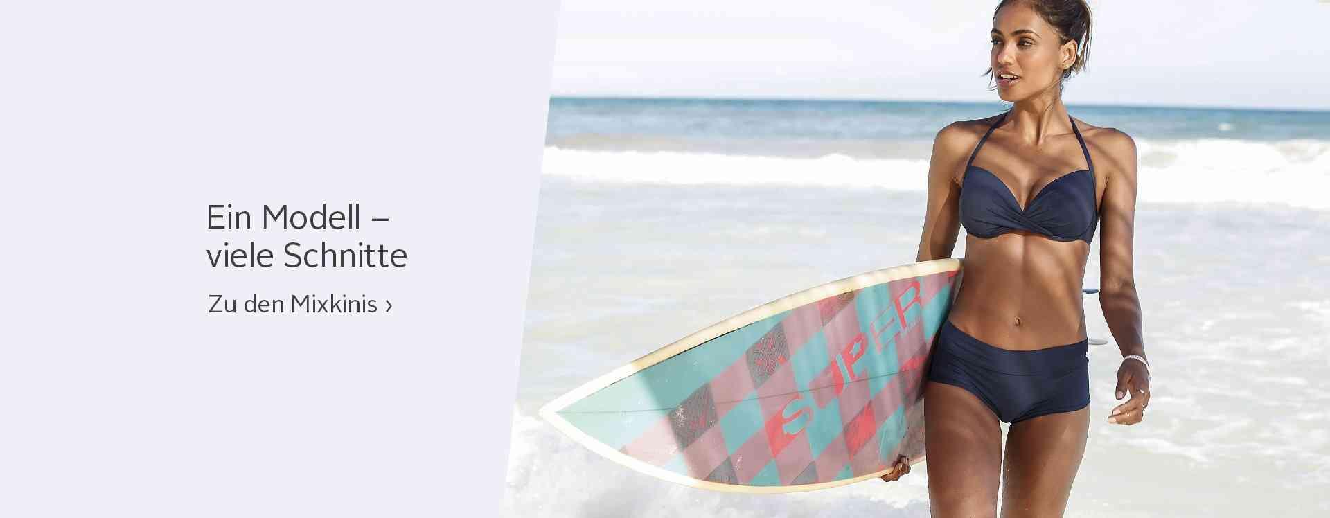 Als Bikini-Top, als Tankini-Top, mit Mustern oder dezent uni, Höschen mit Bindebändern oder ohne: Mixen Sie sich Ihren Traum-Bikini und wählen Sie zwischen vielen Looks, Farben und Designs.