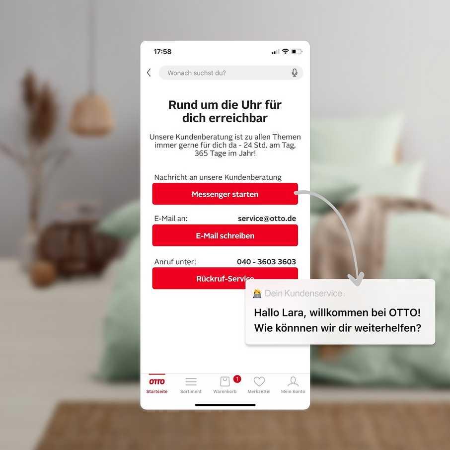 Vorteile der OTTO App: per Messenger, E-Mail oder Rückruf-Service - wir sind für dich da