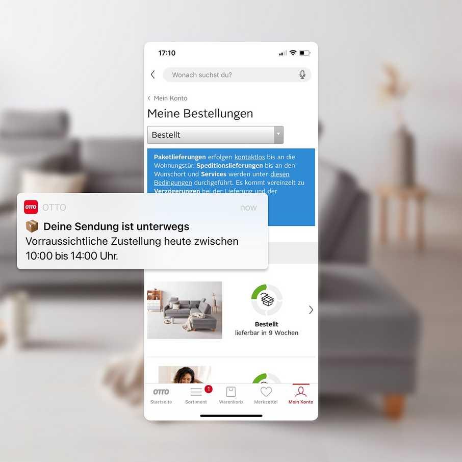 Vorteile in der OTTO-App: Sendungsauskunft per Pushnachricht