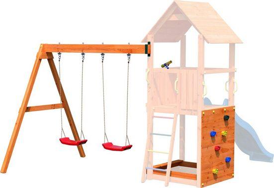 DOBAR Set: Spielturm-Anbauelemente »Bento«, Doppelschaukel, Kletterwand, Sandkasten und Fernrohr
