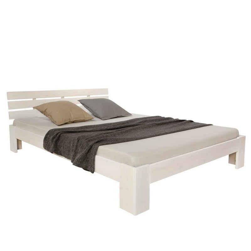 Homestyle4u Holzbett »Doppelbett Futonbett 120x200 weiß Kiefer«