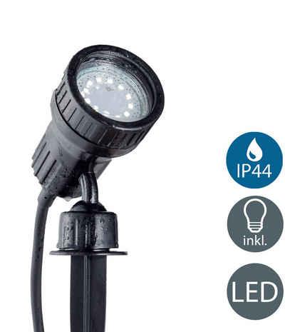 B.K.Licht LED Gartenstrahler, LED Erd-Spieß Gartenleuchte IP44 Wandspot Außen-Leuchte Lampe Terrasse 3W GU10