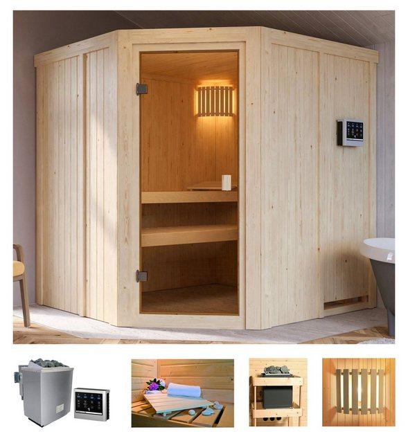 Saunen und Zubehör - Karibu Sauna »Hilda«, BxTxH 196 x 178 x 198 cm, 68 mm, 4,5 kW Bio Ofen mit ext. Steuerung  - Onlineshop OTTO
