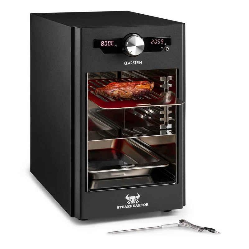 Klarstein Kontaktgrill Steakreaktor Core Indoor Grillgerät Hochtemperaturgrill 2100W 800°C Einstichthermometer, 2100 W