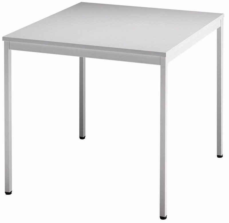 bümö Konferenztisch »OM-VS08«, Meetingtisch & Besprechungstisch System - Quadrat: 80 x 80 cm - Gestell: Grau, Dekor: Grau