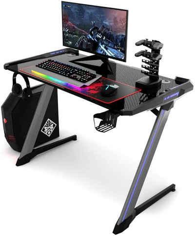 COSTWAY Computertisch »Gaming Tisch Schreibtisch«, mit RGB-Led, USB-Controller-Halterung, Becher- und Kopfhörerhalterung, ergonomisch