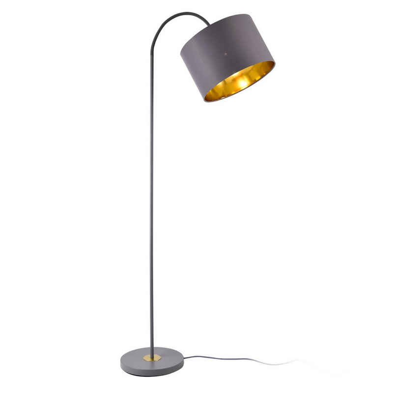 lux.pro Stehlampe, »Toledo« Stehleuchte Design schwenkbare Lampe Metall grau/gold