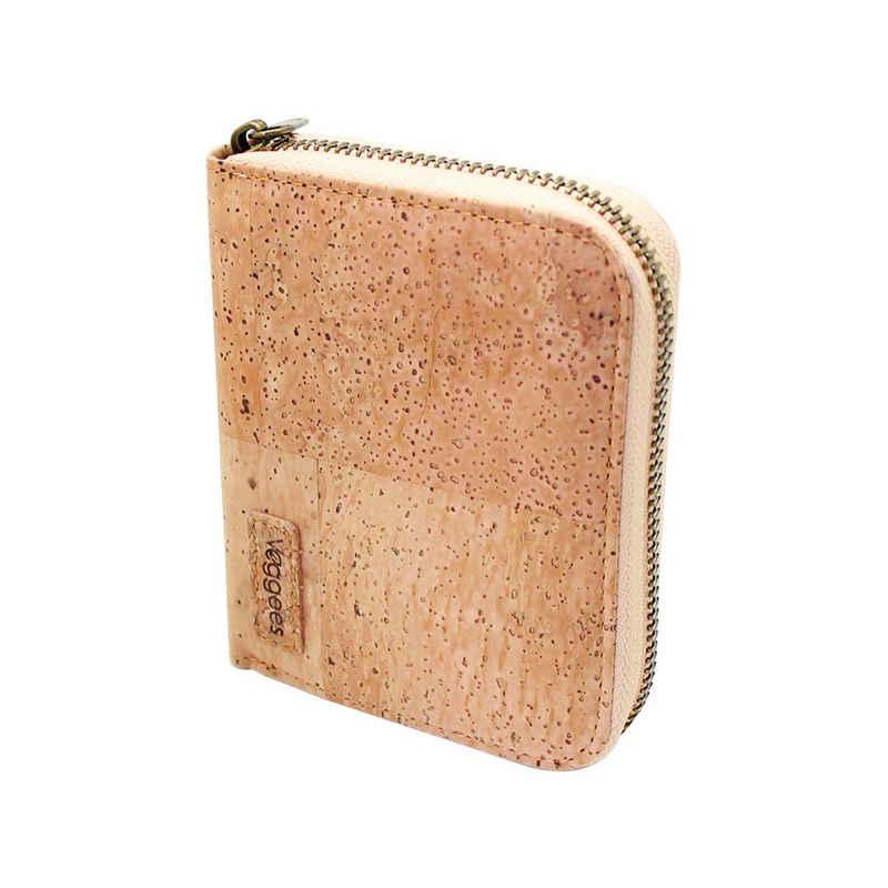 Veggees Geldbörse »Veggees Mini Naturell - Kork Geldbörse für Damen klein mit RFID Schutz - Vegane Wallet aus Korkleder - Geldbeutel, Portemonnaie, Zero waste«, Vegan, Zero Waste, RFID-Schutz