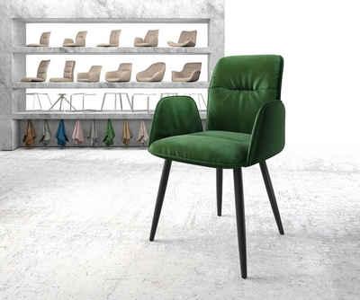 DELIFE Esszimmerstuhl »Vinja-Flex«, 4-Fuß konisch schwarz Samt grün