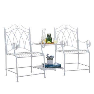 SoBuy Gartenstuhl »OGT44«, Gartenstühle mit Tisch Gartenbank Balkonstuhl Gartenmöbel Sitzgruppe 2 Stühle Set Gartengarnitur
