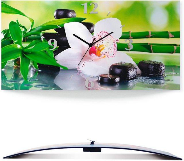 Artland Wanduhr »Spa Steine Bambus Zweige Orchidee« (3D Optik gebogen) günstig online kaufen
