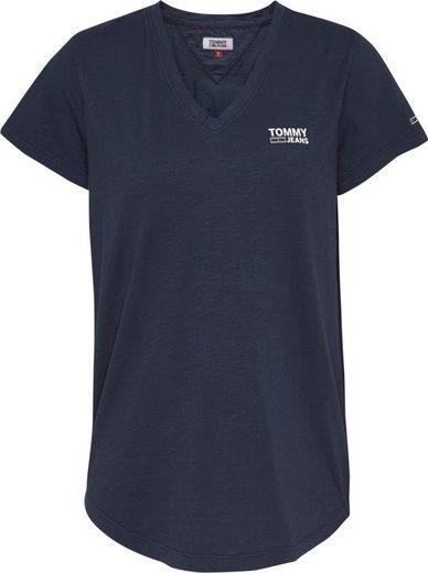 TOMMY JEANS V-Shirt »TJW LOGO SLUB TEE« mit Tommy Jeans Logo-Schriftzug auf der Brust