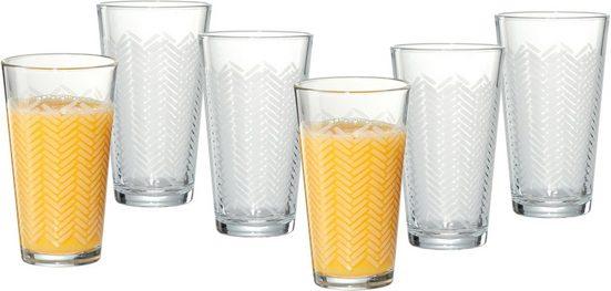 Ritzenhoff & Breker Longdrinkglas »Happy, Stripes«, Glas, 400 ml, 6-teilig