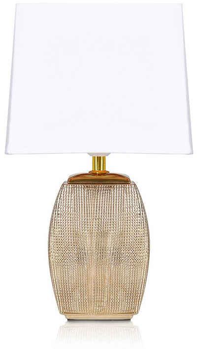 BRUBAKER Tischleuchte »Nachttischlampe Gold«, Keramikfuß