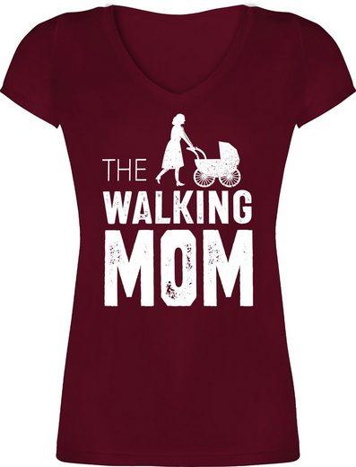 Shirtracer T-Shirt »The Walking Mom weiß - Muttertagsgeschenk - Damen T-Shirt mit V-Ausschnitt«
