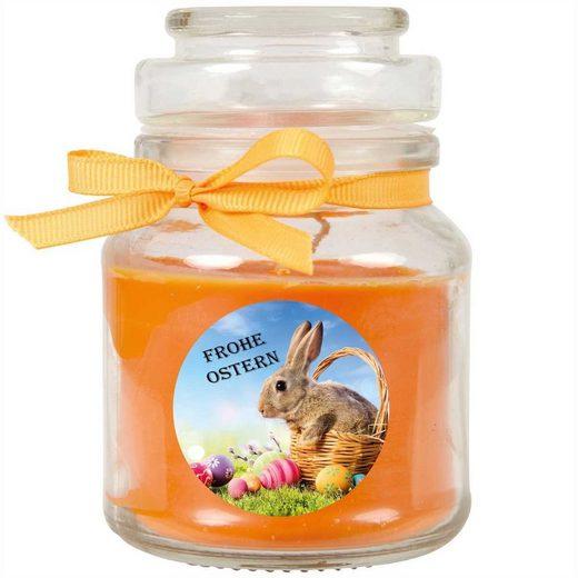 HS Candle Duftkerze (1-tlg), Frohe Ostern - Bis zu 110h Brenndauer - Kerze im Bonbon Glas, Kerze mit Motiv zur Osterzeit, vers. Düfte / Größen