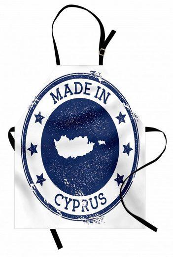 Abakuhaus Kochschürze »Höhenverstellbar Klare Farben ohne verblassen«, Zypern Grunge Stempel von Karte