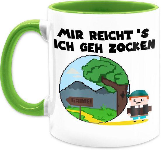 Shirtracer Tasse »Mir reicht's ich geh zocken - Kaffeetasse mit Spruch - Tasse zweifarbig«, Keramik, Statement Teetasse