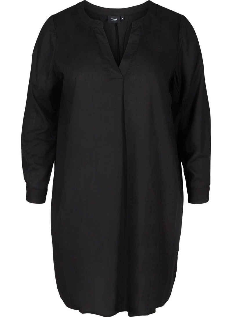 Zizzi Tunikakleid Große Größen Damen Langarm Viskosekleid mit V-Ausschnitt