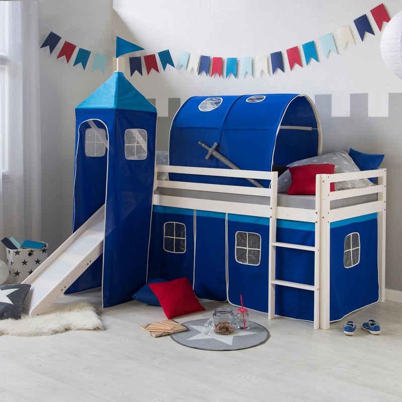 Homestyle4u Hochbett »Spielbett Kinderbett Rutsche Turm Vorhang blau« (Bettvorhang waschbar bei 30 Grad Maschinenwäsche)