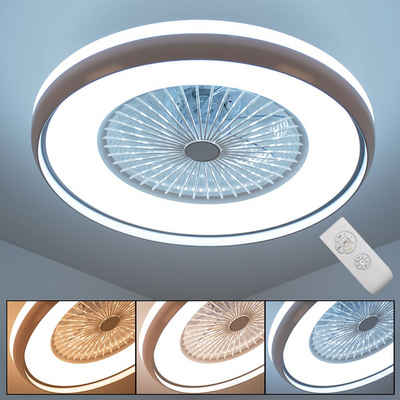 etc-shop Deckenventilator, LED Decken Ventilator Leuchte Fernbedienung Tageslicht Lampe Timer Wohn Zimmer Beleuchtung Kühler Lüfter