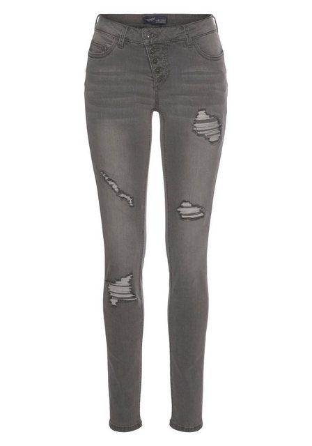 Hosen - Arizona Slim fit Jeans »mit sichtbarer, schräger Knopfleiste« Mid Waist › grau  - Onlineshop OTTO