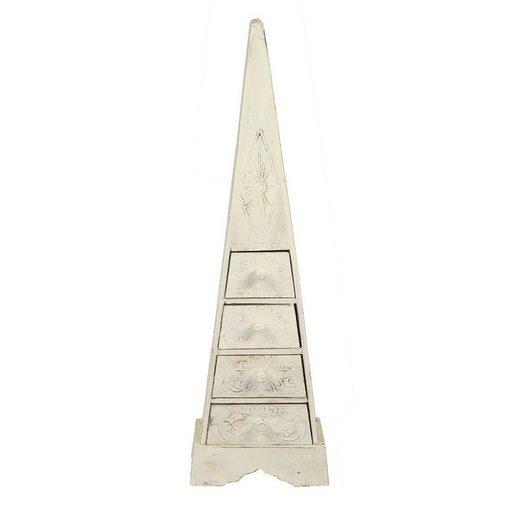 Oriental Galerie Mehrzweckschrank »Pyramidenschrank weiß whitewash 100 cm« (1-St) Handarbeit