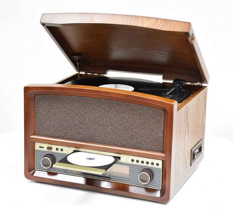 Reflexion »HIF1937« Radioplattenspieler (Retro Stereo-Anlage mit Plattenspieler, Kassette, CD-Player und Radio (CD / MP3, USB, LCD-Display, Fernbedienung, 40 W)