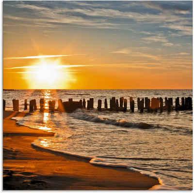 Artland Glasbild »Schöner Sonnenuntergang am Strand«, Strand (1 Stück)